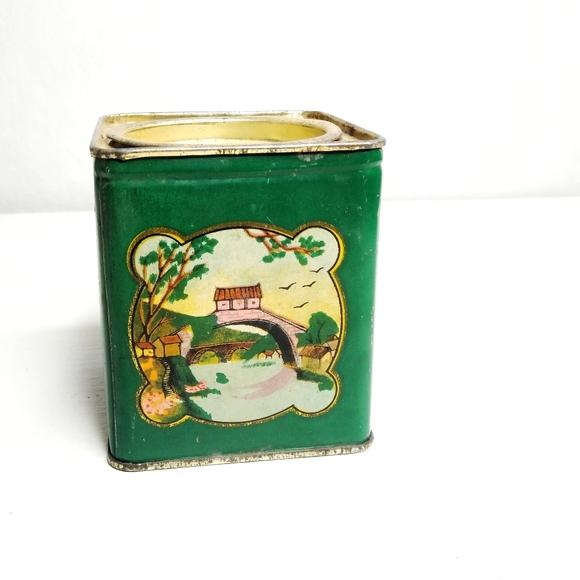 Vintage China Tea Tin Small Green Landscape